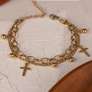 NEW 18K Gold Plated Cross Bead Link Chain Double Layer Bracelet